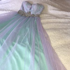Mint and lavender colored ball gown